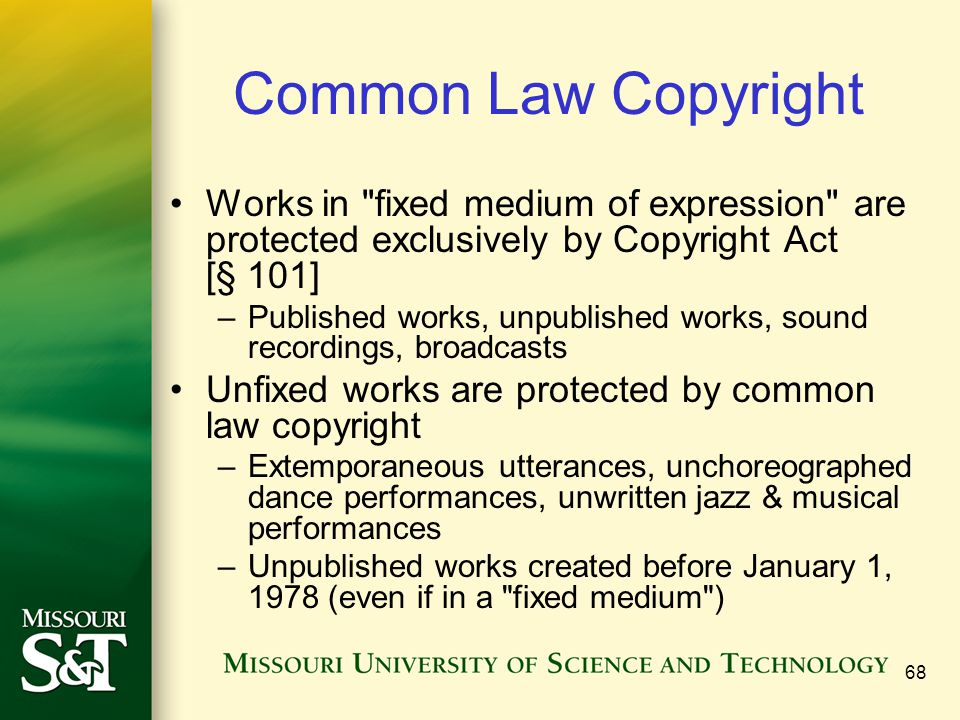 Common Law Copyright Works in fixed medium of expression are protected exclusively by Copyright Act [§ 101]